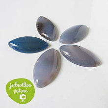 Minerály - Brazílsky achát modrý / kabošon naveta 17x34mm - 8551961_