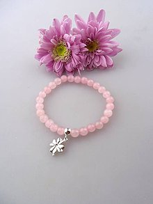 Náramky - Striebro a ruženín náramok z lásky pre šťastie - 8551710_