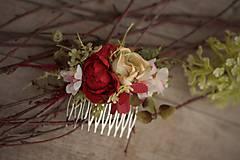 """Ozdoby do vlasov - Hrebienok do vlasov """"Růže s kalinou"""" - 8552022_"""