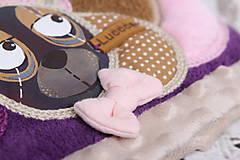 Detské čiapky - Fialový set s mackom - 8551623_