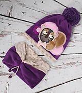 Detské čiapky - Fialový set s mackom - 8551624_