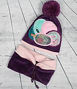 Detské čiapky - Fialový setík pre malé slečny - 8551765_