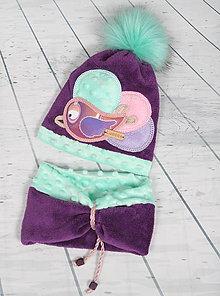Detské čiapky - Hrejivý set s vtáčikom - 8551814_