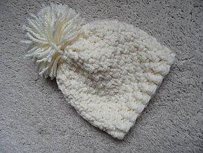 Detské čiapky - vanilková čiapočka - 8553197_