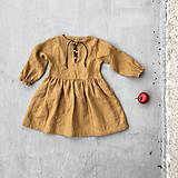 - Detské ľanové šaty s koženým detailom - 8551087_