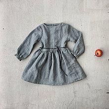 Detské oblečenie - Detské ľanové šaty s koženou šnúrkou - 8550555_