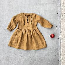 Detské oblečenie - Detské ľanové šaty s koženým detailom - 8551087_