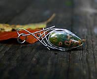 Náhrdelníky - Zelený oceán - Ag925, strieborný prívesok s oceánskym jaspisom - 8553157_