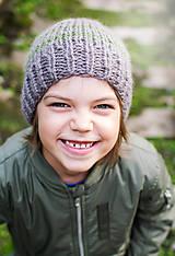 Detské čiapky - Zimná čapica ... zelené pásy - 8554346_