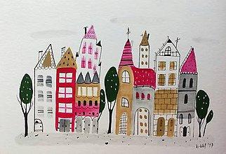 Papiernictvo - Mesto 3 pohľadnica - ilustrácia / originál maľba - 8555156_