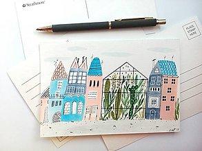 Papiernictvo - Mesto 4 skleník pohľadnica - ilustrácia / originál maľba - 8556905_