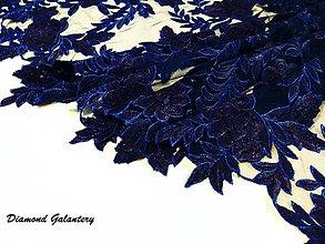 Textil - Luxusná krajková látka - tmavo modrá - cena za 10 cm - 8554987_
