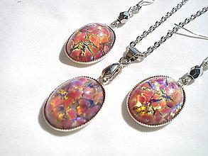 Sady šperkov - Sada-ružový Opál so striebrom Ag 925 - 8555242_