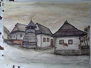 Obrazy - Vlkolínec (akvarel) - 8555235_