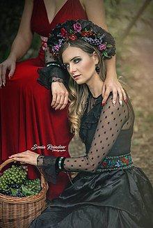 Opasky - Exkluzívny čierny ľudový opasok z kolekcie Black&Red folk - 8554371_
