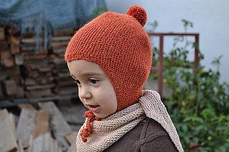 Detské čiapky - Detská čiapka alpaka 0 - 24 m hrdzavá - 8557073_