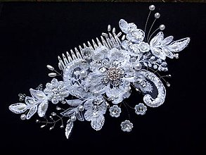 Ozdoby do vlasov - snehobiely svadobný hrebienok - 8555092_