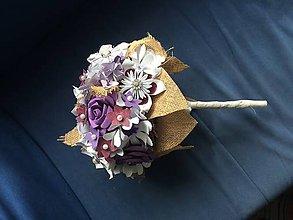 Kytice pre nevestu - Svadobná kytica z papierových kvetov - 8555793_
