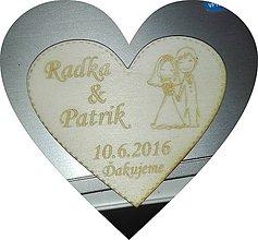 Darčeky pre svadobčanov - Svadobné srdiečko magnetka - 8557529_