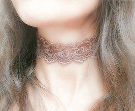 Náhrdelníky - Marsala čipkový choker - náhrdelník obojok - 8555413_
