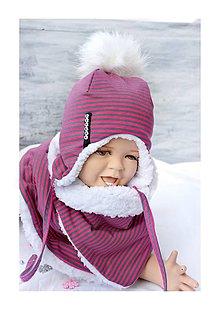 Detské súpravy - zimný set s menom pink pruhy & fleece snow - 8557566_