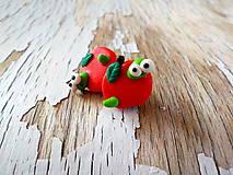 Náušnice - jabĺčka s červíčkom - napichovačky - 8556917_