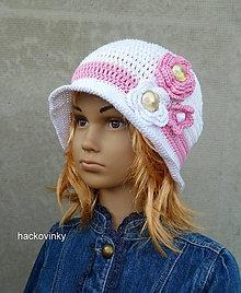 Detské čiapky - Bielo ruzova elegancia - 8556861_