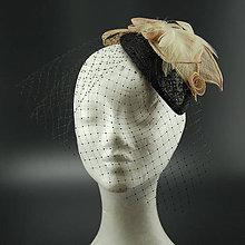 Ozdoby do vlasov - Black Style klobouk s francouzským závojem - 8558411_