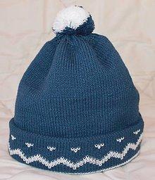 Čiapky - Pánska pletená čiapka vzorovaná - 8558181_