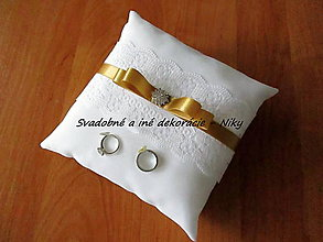 Prstene - Vankúšik pod obrúčky (Zlatá) - 8559558_