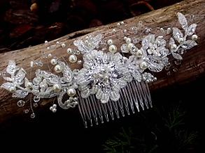 Ozdoby do vlasov - svadobný hrebienok do vlasov Ivory 2 - 8557835_