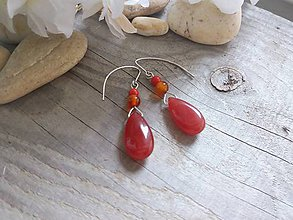 Náušnice - Náušničky proti urieknutiu-jadeit,koral,karneol - 8560486_