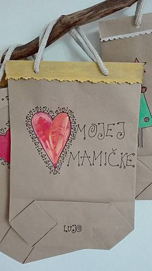 Papiernictvo - EKO Ručne maľovaná darčeková taška S_ Mojej Mamičke - 8557970_