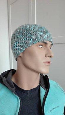 Čiapky - Háčkovaná čiapka UNISEX Basic - šedomodrá - 8558309_