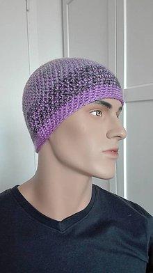 Čiapky - Háčkovaná čiapka UNISEX Basic - fialovosivá - 8558365_