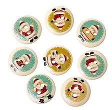 Galantéria - Gombíček drevený vianočný Santa Claus 1,5 cm - 8557618_