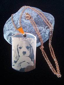 Náhrdelníky - Gravírovaný prívesok z chir. ocele-Dogtag Rose Gold - 8559194_