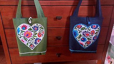 Veľké tašky - Taška z rifloviny - folk zelená - 8559323_