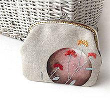 Peňaženky - Peňaženka XL Hnedý kruh s lúčnym kvetom - 8558088_