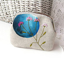 Taštičky - Peňaženka XL Modrý kruh s lúčnym kvetom - 8558094_