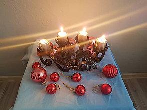 Svietidlá a sviečky - adventný kovový svietnik - 8561763_