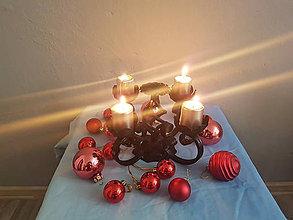 Svietidlá a sviečky - adventný kovový svietnik - 8561803_