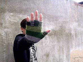 Rukavice - Rukavice polprstové zeleno-sivé - 8563276_