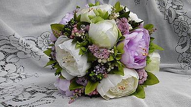 Dekorácie - Svadobná kytica fialovo-biela - 8562073_