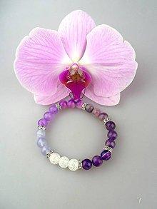 Náramky - fialová harmónia náramok ametyst achát jadeit krištál - 8560798_