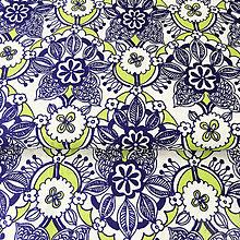 Textil - modré kvety, 100 % bavlna Nemecko, šírka 140 cm, cena za 0,5 m - 8564160_