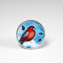 Prstene - Červený vtáčik - Prstienok - uni veľkosť - originálny motív - 8560806_