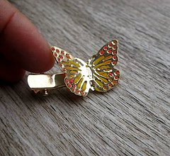 Ozdoby do vlasov - Sponka s motýľom (Motýľ - pinetka/sponka/brošňa č.1273) - 8563288_