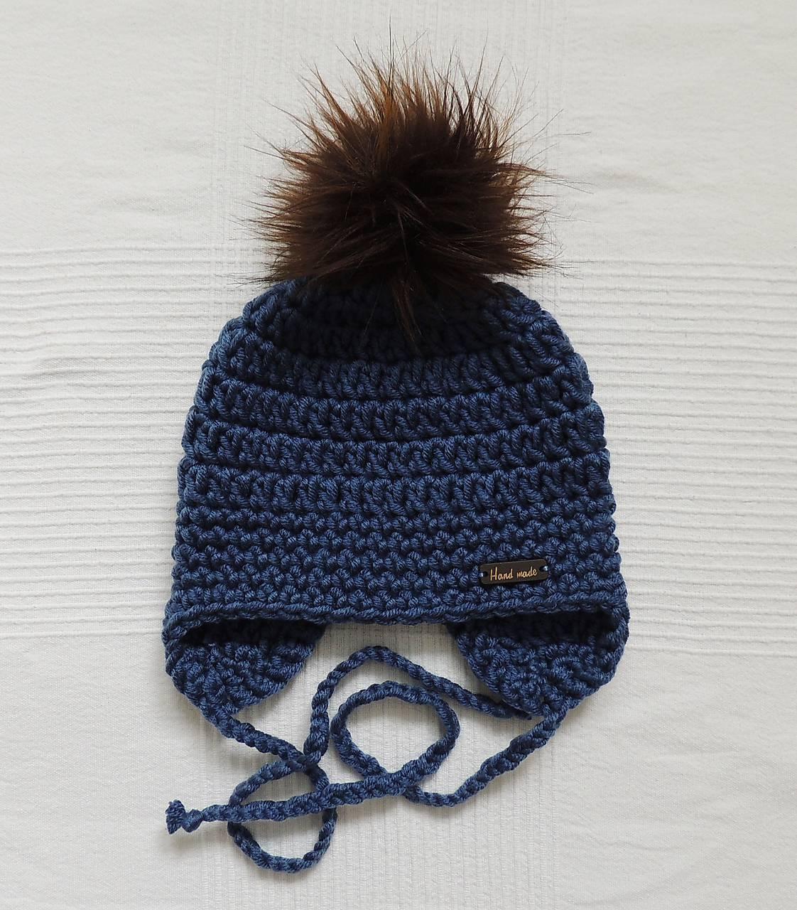 Jeansovo modrá zimná ušianka s kožušinkou   terilh - SAShE.sk - Handmade  Detské čiapky 325e71389e