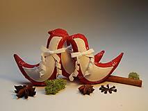 Dekorácie - Vianočné ozdôbky - červeno biele - vtáčik - 8562739_